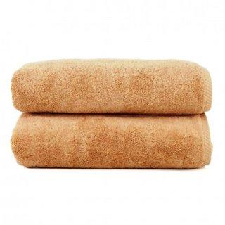 New Cotton Free Size Beige-color Bath Towel set of 2
