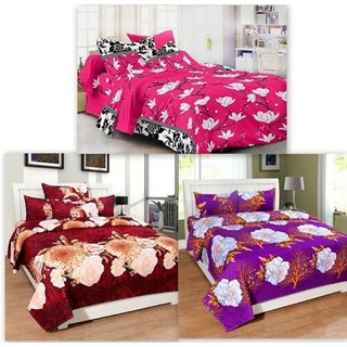 Attractivehomes Beautiful Glace Cotton 3D Printed 3 Double Bedsheets With 6  Pillow Covers (Combo Of
