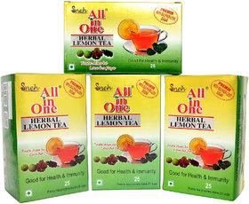Pack Of 4 All in one Herbal Lemon Tea Premix Sulphur less sugar(25 Pouches)