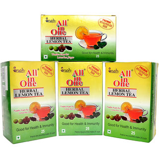 Pack Of 4 All in one Herbal Lemon Tea Premix Sulphur less sugar(25 Pouches)