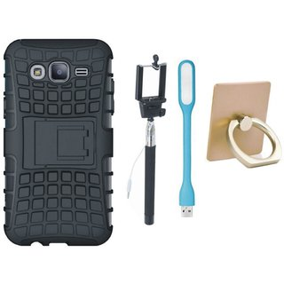 Samsung J5 2016 Version ( SM-J510 ) Defender Tough Armour Shockproof Cover with Ring Stand Holder, Selfie Stick and USB LED Light