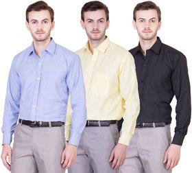 Akaas men's combo of formal shirts(skyblue,yellow,black)
