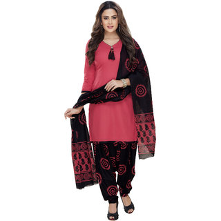 Risera Women's Pink Cotton Bollywood Printed Unstitched Salwar Suit Dress Material