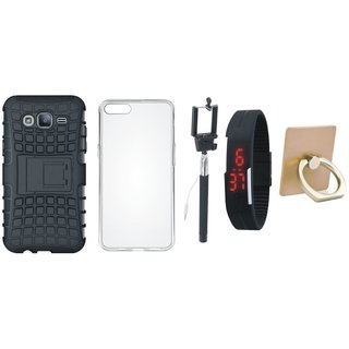 Samsung J5 2016 Version ( SM-J510 ) Dual Protection Defender Back Case with Ring Stand Holder, Silicon Back Cover, Selfie Stick and Digtal Watch