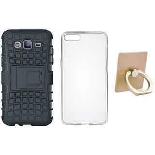 Samsung J5 2016 Version ( SM-J510 ) Shockproof Kick Stand Defender Back Cover with Ring Stand Holder, Silicon Back Cover, Free Silicon Back Cover