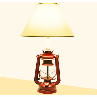 Saiitems Lantern Table Lamp with Cotton Shade