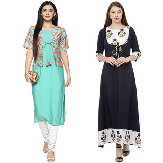 Ziyaa Women's Multicolor Stitched Pack of 2 Kurtis