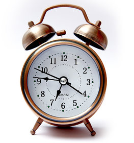 Classic twine bell Green colour table alarm clock with night led light - EDALRM004