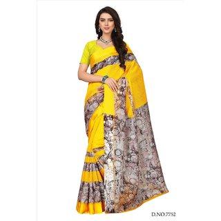 Fabwomen Sarees Floral Print Yellow And Yellow  Coloured Kora Silk Fashion Party Wear Women's Saree/Sari.