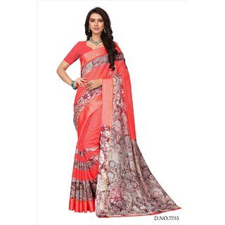 Fabwomen Sarees Floral Print Red And Red  Coloured Kora Silk Fashion Party Wear Women's Saree/Sari.