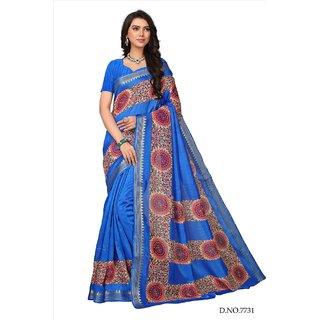 Fabwomen Sarees Floral Print Blue And Blue  Coloured Kora Silk Fashion Party Wear Women's Saree/Sari.