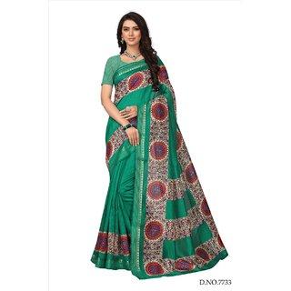Fabwomen Sarees Floral Print Green And Green  Coloured Kora Silk Fashion Party Wear Women's Saree/Sari.