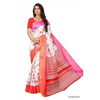 dc9c49ba09 Buy Fabwomen Sarees Floral Print White And Red Coloured Cotton Silk Fashion  Party Wear Women's Saree/Sari. Online - Get 67% Off