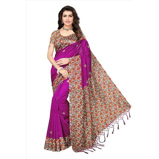 Fabwomen Sarees Floral Print Purple And Multi  Coloured Mysore Art Silk With Tassels Fashion Party Wear Women's Saree/Sari.