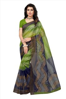 Fabwomen Sarees Floral Print Blue And Green  Coloured Net Fashion Party Wear Kota Doria Women's Saree/Sari.