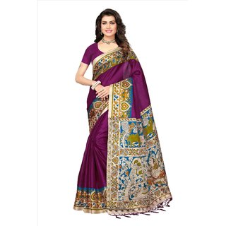 Fabwomen Sarees Floral Print Multicolor And Magenta  Coloured Mysore Art Silk With Tassels Fashion Party Wear Women's Saree/Sari.