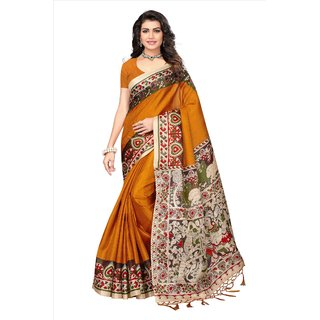 Fabwomen Sarees Floral Print Multicolor And Yellow  Coloured Mysore Art Silk With Tassels Fashion Party Wear Women's Saree/Sari.