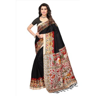 Fabwomen Sarees Floral Print Multicolor And Black  Coloured Mysore Art Silk With Tassels Fashion Party Wear Women's Saree/Sari.