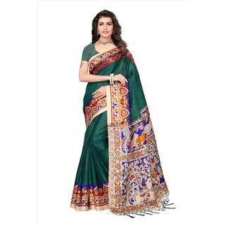 Fabwomen Sarees Floral Print Multicolor And Green  Coloured Mysore Art Silk With Tassels Fashion Party Wear Women's Saree/Sari.