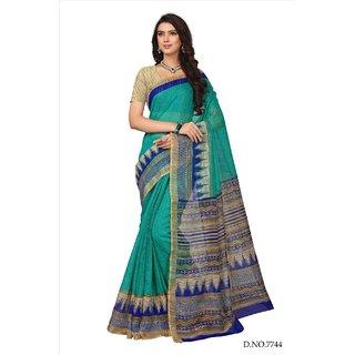 Fabwomen Sarees Floral Print Green And Beige  Coloured Cotton Silk Fashion Party Wear Women's Saree/Sari.