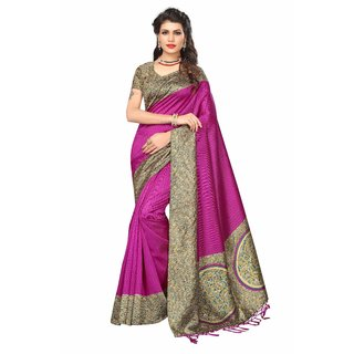 Fabwomen Sarees Floral Print Pink And Pink  Coloured Mysore Art Silk With Tassels Fashion Party Wear Women's Saree/Sari.