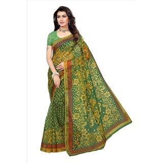 Fabwomen Sarees Floral Print Yellow And Green  Coloured Net Fashion Party Wear Kota Doria Women's Saree/Sari.
