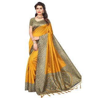 Fabwomen Sarees Floral Print Yellow And Yellow  Coloured Mysore Art Silk With Tassels Fashion Party Wear Women's Saree/Sari.