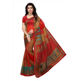 Fabwomen Sarees Floral Print Multicolor And Red  Coloured Net Fashion Party Wear Kota Doria Women's Saree/Sari.