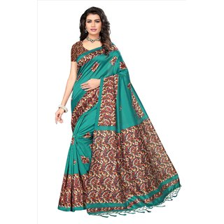Fabwomen Sarees Floral Print Green And Multi  Coloured Mysore Art Silk With Tassels Fashion Party Wear Women's Saree/Sari.