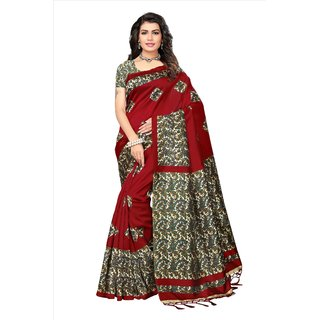Fabwomen Sarees Floral Print Red And Multi  Coloured Mysore Art Silk With Tassels Fashion Party Wear Women's Saree/Sari.