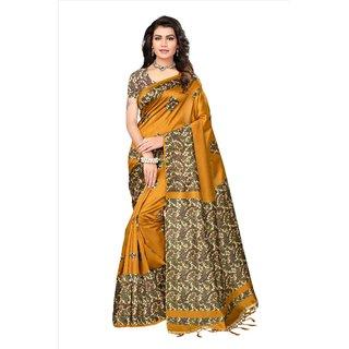Fabwomen Sarees Floral Print Yellow And Multi  Coloured Mysore Art Silk With Tassels Fashion Party Wear Women's Saree/Sari.