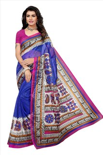 Fabwomen Sarees Floral Print Blue And Pink  Coloured Net Fashion Party Wear Kota Doria Women's Saree/Sari.