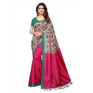 Fabwomen Sarees Floral Print Pink And Green  Coloured Mysore Art Silk With Tassels Fashion Party Wear Women's Saree/Sari.