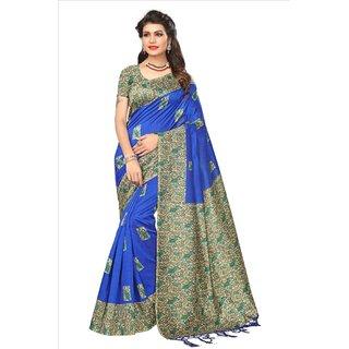 Fabwomen Sarees Kalamkari Blue And Multi  Coloured Mysore Art Silk With Tassels Fashion Party Wear Women's Saree/Sari.