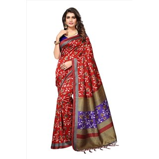 Fabwomen Sarees Floral Print Red And Blue  Coloured Mysore Art Silk With Tassels Fashion Party Wear Women's Saree/Sari.