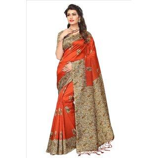 Fabwomen Sarees Kalamkari Orange And Multi  Coloured Mysore Art Silk With Tassels Fashion Party Wear Women's Saree/Sari.