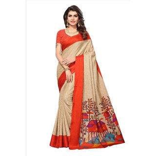 Fabwomen Sarees Geometric Print Beige And Orange  Coloured Manipuri Silk Fashion Party Wear Women's Saree/Sari.