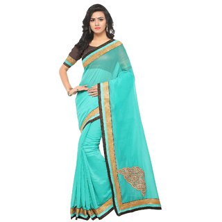 Fabwomen Sarees Embroidered Turquoise And Brown  Coloured Chanderi Cotton Fashion Party Wear Women's Saree/Sari.