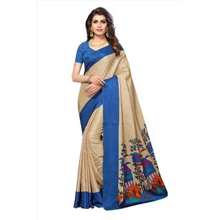 Fabwomen Sarees Geometric Print Beige And Blue  Coloured Manipuri Silk Fashion Party Wear Women's Saree/Sari.