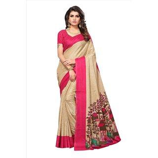 Fabwomen Sarees Geometric Print Beige And Pink  Coloured Manipuri Silk Fashion Party Wear Women's Saree/Sari.