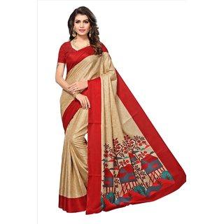 Fabwomen Sarees Geometric Print Beige And Red  Coloured Manipuri Silk Fashion Party Wear Women's Saree/Sari.