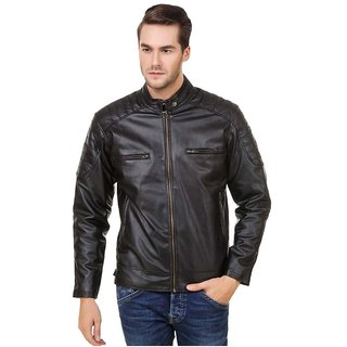 Amasree Pu Leather Black Casual Plain Jackets For Men  Boys