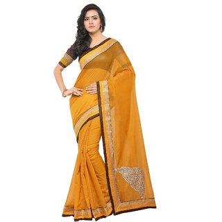 f9d032dd4 Fabwomen Sarees Embroidered Yellow And Brown Coloured Chanderi Cotton  Fashion Party Wear Women s Saree Sari.