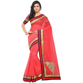 Fabwomen Sarees Embroidered Pink And Brown  Coloured Chanderi Cotton Fashion Party Wear Women's Saree/Sari.