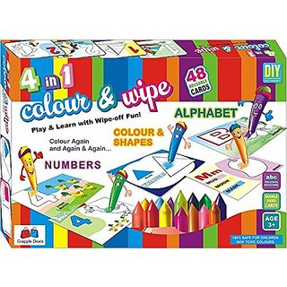 GRAPPLE DEALS Colour N Wipe Colouring Kits Play And Learn With Wipe Off Fun For Kids