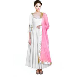 Greenvilla Designs White Tafetta Silk Embroidery Anarkali Dress