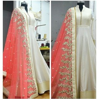 Greenvilla Designs White And Orange Banglori Silk Anarkali Dress