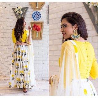 Greenvilla Designs Yellow Banglori Silk Lehenga