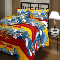 Dream Decor 100% Cotton Cartoon Print Double Bed Sheet With Pillow Cover- 5 Options