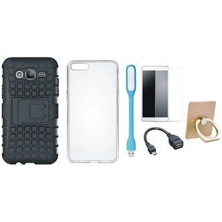 Nokia 8 Shockproof Tough Defender Cover with Ring Stand Holder, Silicon Back Cover, Tempered Glass, USB LED Light and OTG Cable
